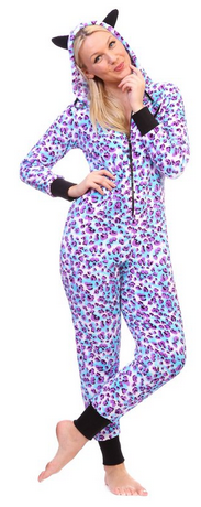 Totally Pink Women's Warm and Cozy Plush Onesie Pajama blue purple leopard
