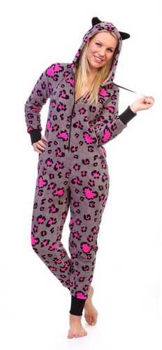 Totally Pink Women's Warm and Cozy Plush Onesie Pajama pink grey leopard