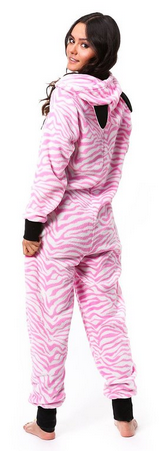 Totally Pink Women's Warm and Cozy Plush Onesie Pajama pink zebra