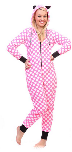 Totally Pink Women's Warm and Cozy Plush Onesie Pajama white polka dot