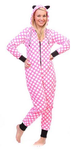 Totally Pink Women's Warm and Cozy Plush Onesie Pajama white polka dot
