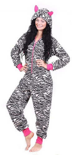 Totally Pink Women's Warm and Cozy Plush Onesie Pajama zebra