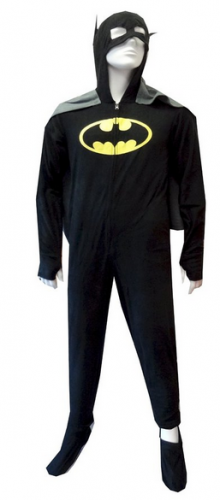 Batman or BatGirl Hooded Fleece One Piece Footie Pajama with Cape for men