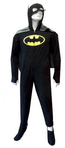 Batman or BatGirl Hooded Fleece One Piece Footie Pajama with Cape for men