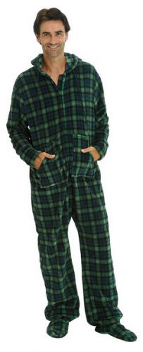 Del Rossa Men's Fleece Hooded Footed One Piece Onsie Pajamas