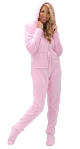 Del Rossa Women's Fleece Hooded Footed One Piece Onsie Pajamas