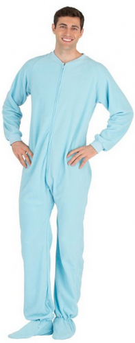 Footed Pajamas Baby Blue Adult Fleece