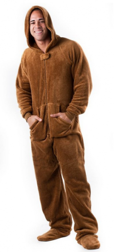 Footed Pajamas Teddy Bear Adult Hoodie One Piece