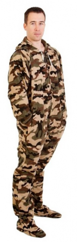 Forever Lazy Unisex Footed Adult Onesie Camo