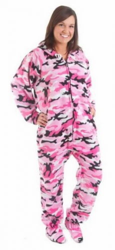 Forever Lazy Unisex Footed Adult Onesie Pink camo