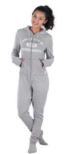 Gray Varsity Hooded Onsie Footed Fleece Pajamas for Women