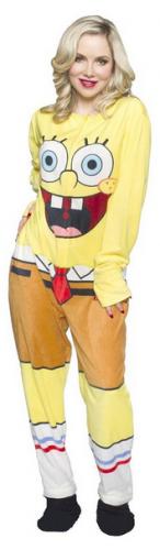 SpongeBob SquarePants Unisex Adult's Fleece Onesie Footed Pajama